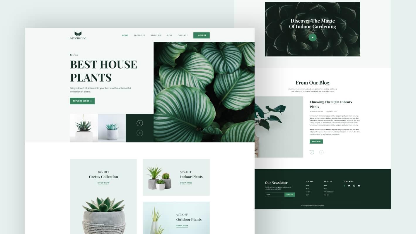 Garden Plant Store website Elementor