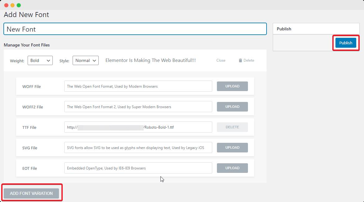 Custom font Elementor