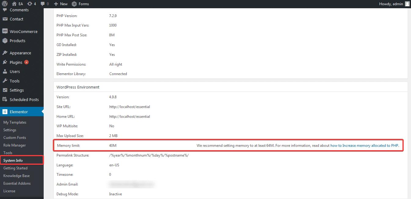 Elementor Site Error